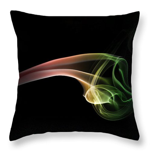 Smoke Throw Pillow featuring the photograph Green And Red Smoke Abstract by Jaroslaw Blaminsky