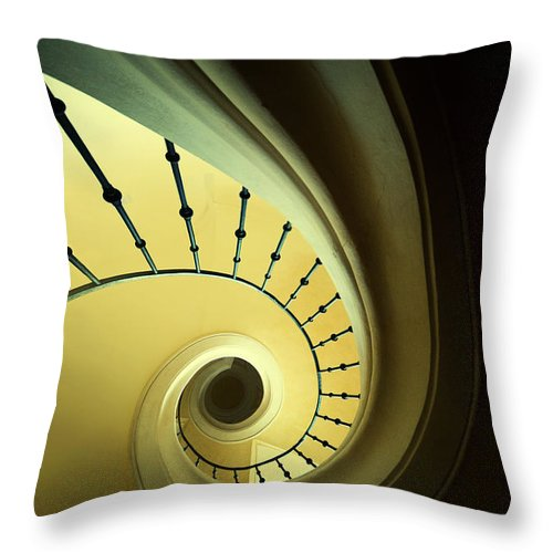Staircase Throw Pillow featuring the photograph Green And Yellow Spirals by Jaroslaw Blaminsky