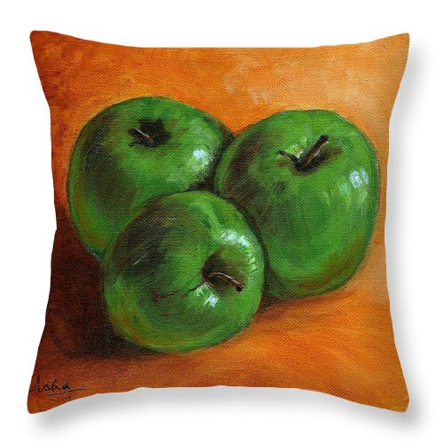 Apples Throw Pillow featuring the painting Green Apples by Asha Sudhaker Shenoy