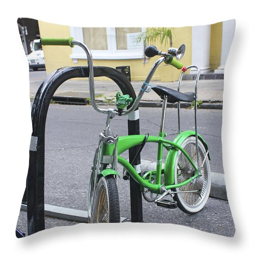Bicycle Throw Pillow featuring the photograph Green Bike by Carlos Diaz