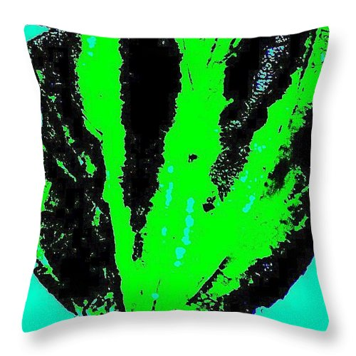 Digital Throw Pillow featuring the photograph Green Blue Plant Abstract by Eric Schiabor