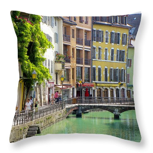 Canal Throw Pillow featuring the photograph Green Canal by Douglas J Fisher