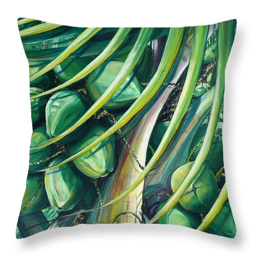 Coconut Painting Caribbean Painting Coconuts Caribbean Tropical Painting Palm Tree Painting  Green Botanical Painting Green Painting Throw Pillow featuring the painting Green Coconuts 2 by Karin Dawn Kelshall- Best