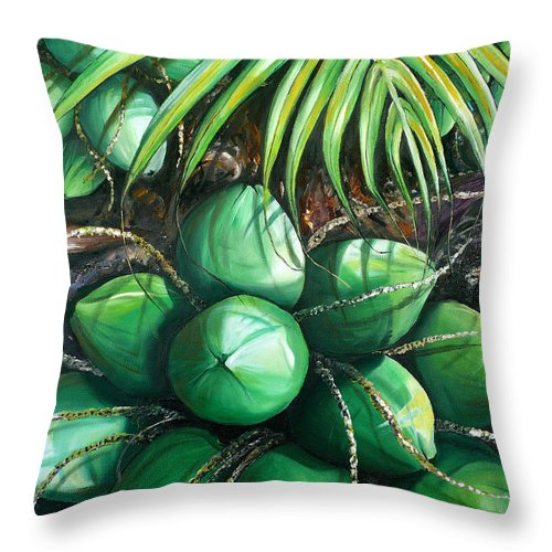 Tropical Painting Caribbean Painting Green Painting Palm Tree Painting Greeting Card Painting Botanical Painting Tree Painting Throw Pillow featuring the painting Green Coconuts 3 Sold by Karin Dawn Kelshall- Best