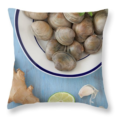 Newtown Throw Pillow featuring the photograph Green Curry, Coconut, Garlic & Ginger by Yelena Strokin