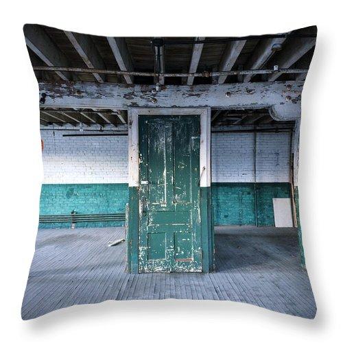 Door Throw Pillow featuring the photograph Green Door by John Carocci