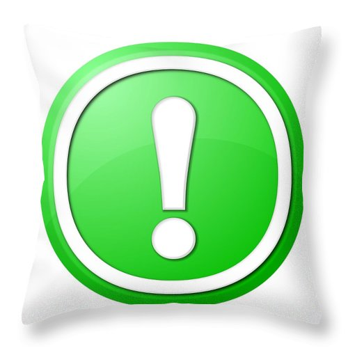 Icon Throw Pillow featuring the digital art Green Exclamation Point Button by Henrik Lehnerer