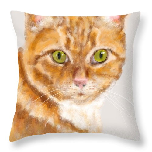 Tabby Throw Pillow featuring the painting Green Eyed Tabby Cat by Lois Ivancin Tavaf