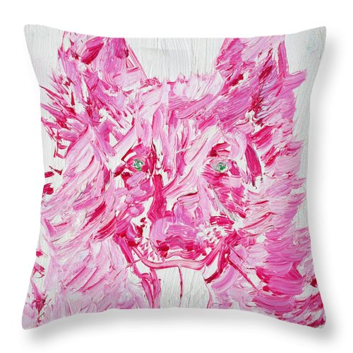 Dog Throw Pillow featuring the painting Green Eyes Dog / Oil Portrait by Fabrizio Cassetta