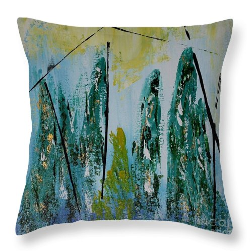 Acrylic Painting Throw Pillow featuring the painting Green Figures by Susanne Baumann