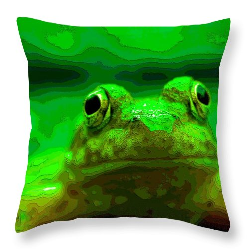Green Frog Poster Throw Pillow featuring the mixed media Green Frog Poster by Dan Sproul