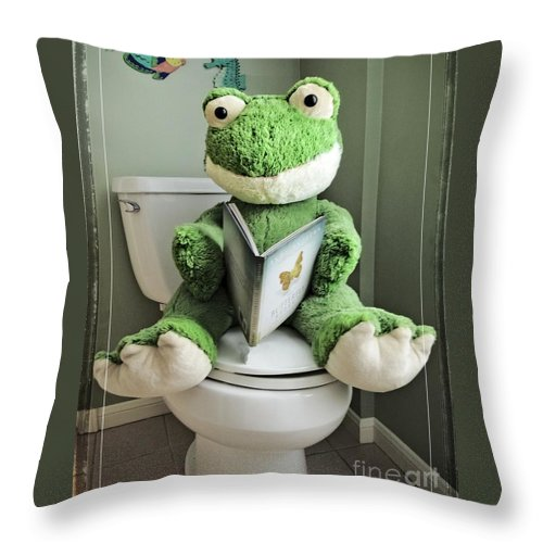 Potty Throw Pillow featuring the photograph Green Frog Potty Training - Photo Art by Ella Kaye Dickey