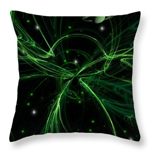 Moon Throw Pillow featuring the digital art Green Galaxy by Amanda Struz