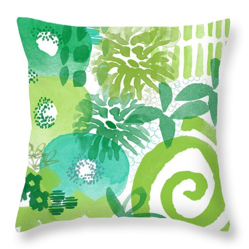 Floral Throw Pillow featuring the painting Green Garden- Abstract Watercolor Painting by Linda Woods