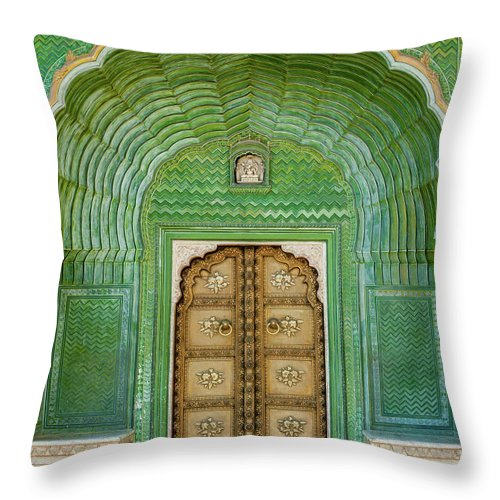 Arch Throw Pillow featuring the photograph Green Gate In Pitam Niwas Chowk by Hakat