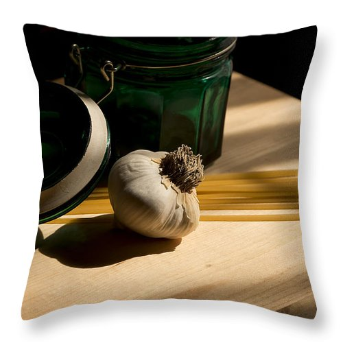 Garlic Throw Pillow featuring the photograph Green Glass And Garlic by Mark McKinney