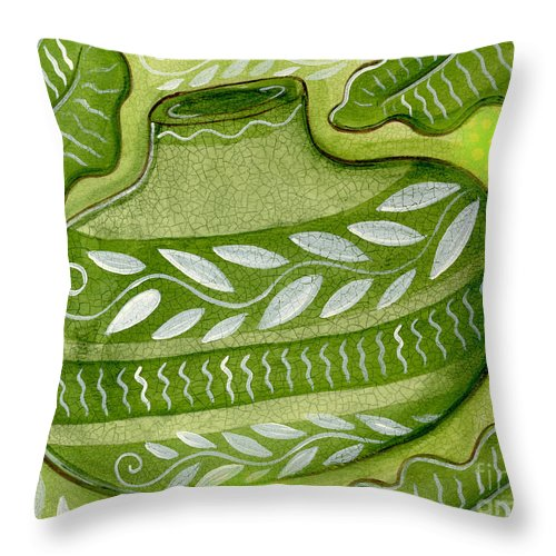 Leaves Throw Pillow featuring the mixed media Green Gourd by Elaine Jackson