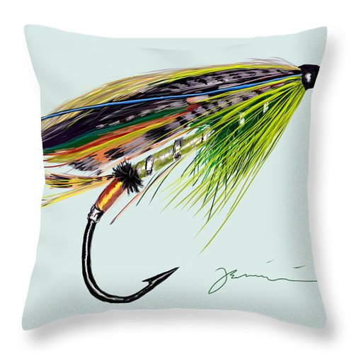 Fly Throw Pillow featuring the painting Green Highlander by Jean Pacheco Ravinski