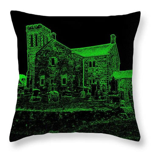 Green Throw Pillow featuring the photograph Green Kirk by James Potts