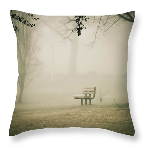 Green Lane Throw Pillow featuring the photograph Green Lane On A Foggy Morning by Trish Tritz