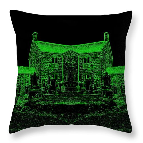 Green Throw Pillow featuring the photograph Green Manor by James Potts