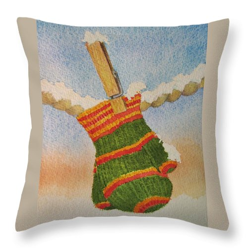 Children Throw Pillow featuring the painting Green Mittens by Mary Ellen Mueller Legault