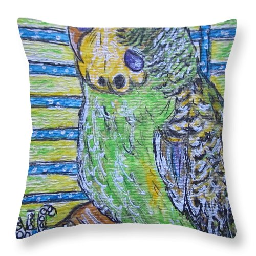 Green Throw Pillow featuring the painting Green Parakeet by Kathy Marrs Chandler