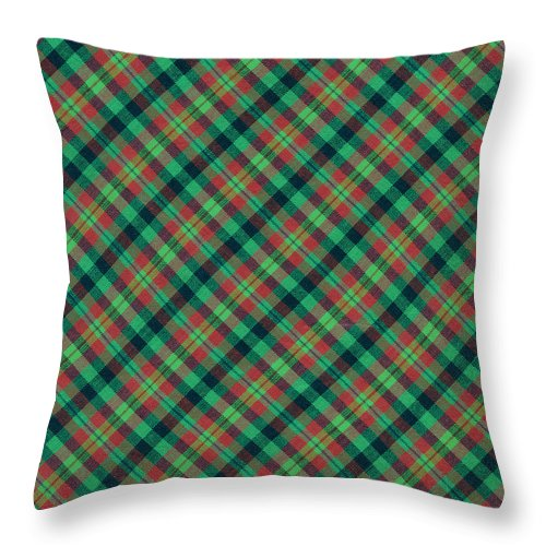 Plaid Fabric Throw Pillow featuring the photograph Green Red And Black Diagonal Plaid Textile Background by Keith Webber Jr