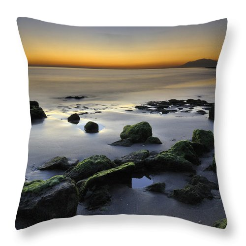 Sunset Throw Pillow featuring the photograph Green Rocks At Sunset by Guido Montanes Castillo