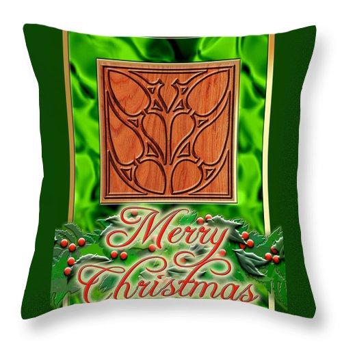 Christmas Throw Pillow featuring the digital art Green Satin Merry Christmas by Melissa A Benson