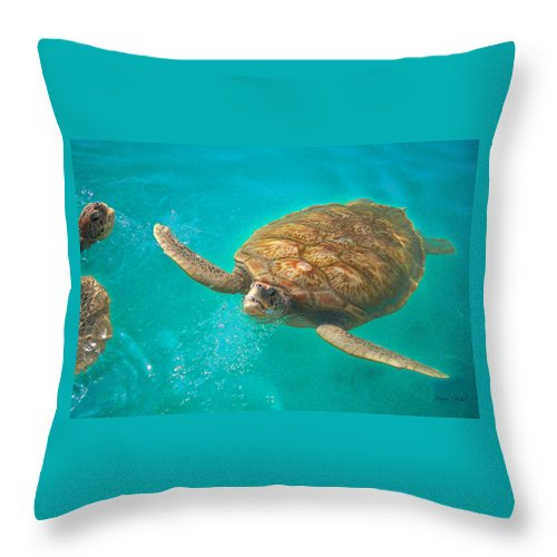 Sea Turtle Throw Pillow featuring the photograph Green Sea Turtle Surfacing by Marie Hicks