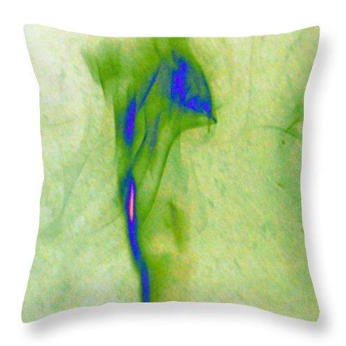 Smoke Throw Pillow featuring the photograph green smoke trail II by Paulina Roybal
