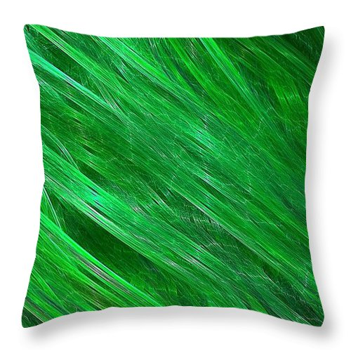 Streaming Throw Pillow featuring the digital art Green Streaming by Doug Morgan