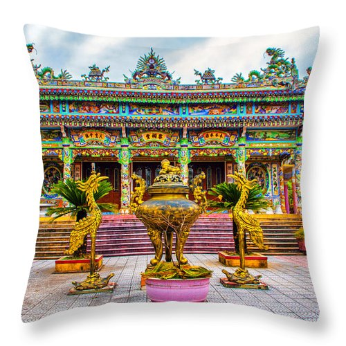 Asia Throw Pillow featuring the photograph Green Temple by Roberta Bragan