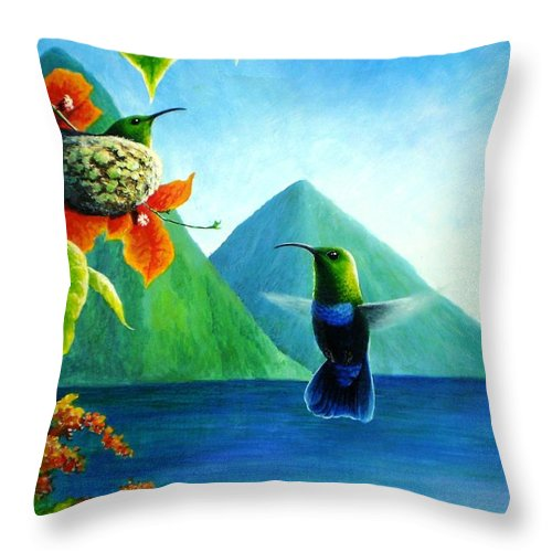 Chris Cox Throw Pillow featuring the painting Green-throated Carib And Bougainvillea by Christopher Cox