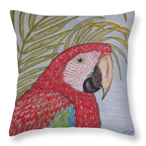 Green Wing Macaw Throw Pillow featuring the painting Green Winged Macaw by Kathy Marrs Chandler
