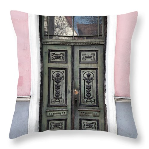 Rectangle Throw Pillow featuring the photograph Green Wooden Door In Old Building by Eugenesergeev