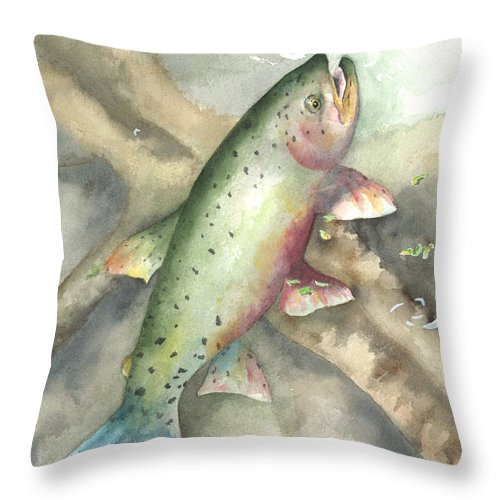 Fish Pictures Throw Pillow featuring the painting Greenback Cutthroat Trout by Kimberly Lavelle
