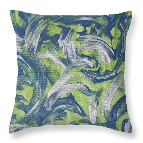 Abstract Throw Pillow featuring the painting Greenery by Laura Lane