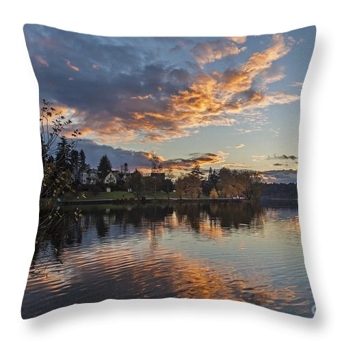 Greenlake Throw Pillow featuring the photograph Greenlake Autumn Sunset by Mike Reid