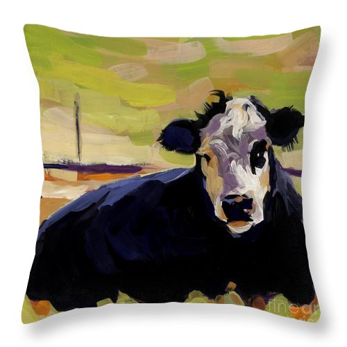 Cow Throw Pillow featuring the painting Greens by Molly Poole