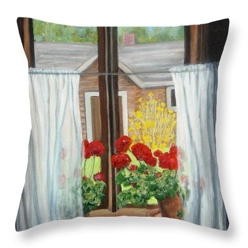 Windows Throw Pillow featuring the painting Greet The Day by Laurie Morgan