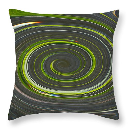 Twrils Throw Pillow featuring the photograph Grey And Green Twirl by Tina M Wenger