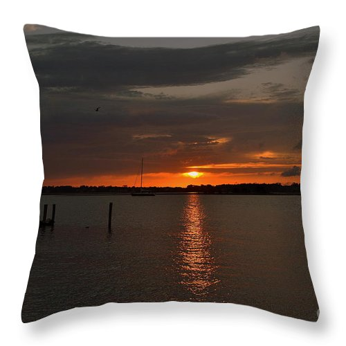 Sunset Throw Pillow featuring the photograph Grey Harbor Sunset by Amy Lucid