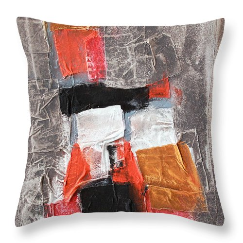 Grey Orange Siena Throw Pillow featuring the painting Grey Love 1 by Jorge Berlato