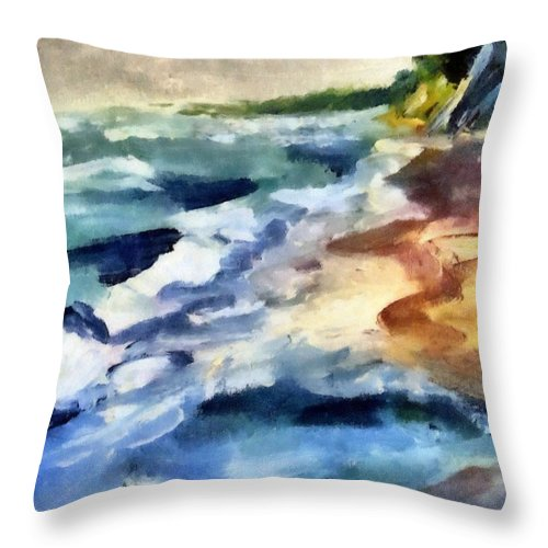 Beach Throw Pillow featuring the painting Grey Sky Day On The Lake by Michelle Calkins