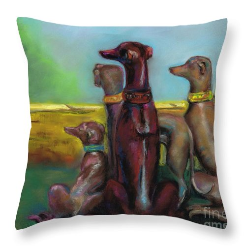 Greyhound Throw Pillow featuring the painting Greyhound Figurines by Frances Marino