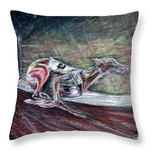 Dog Throw Pillow featuring the drawing Greyhound Number Three by Tom Conway