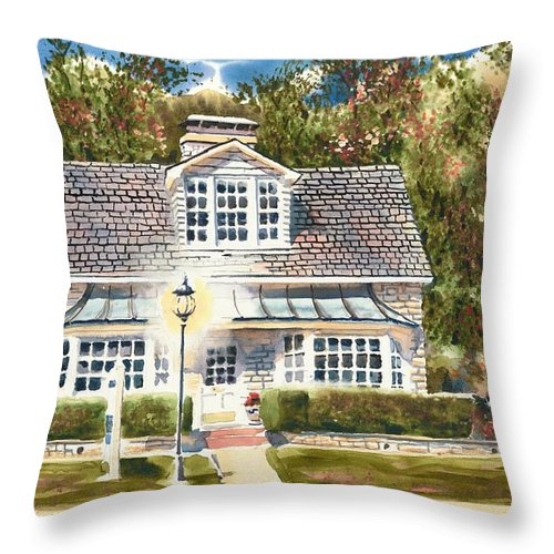 Greystone Inn Ii Throw Pillow featuring the painting Greystone Inn II by Kip DeVore