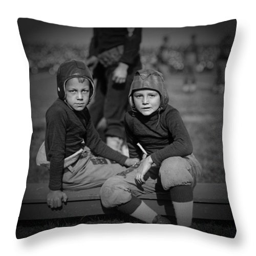 Black And White Throw Pillow featuring the photograph Gridiron Pals by Mountain Dreams